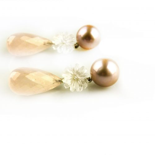 oorbellen oorringen in wit goud gezet roze parel en roze kwarts