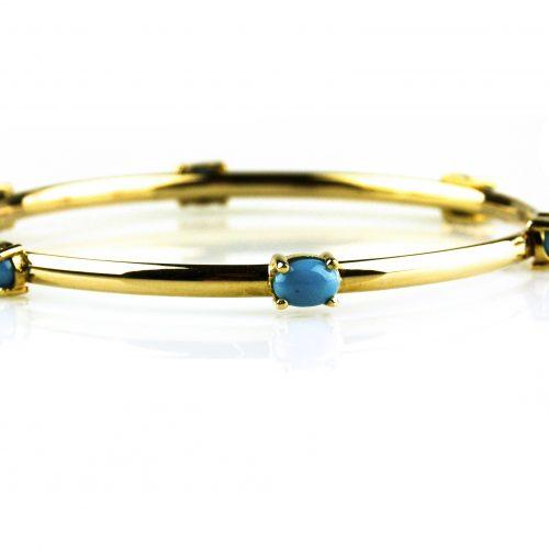 armband in geel goud gezet met turkoois
