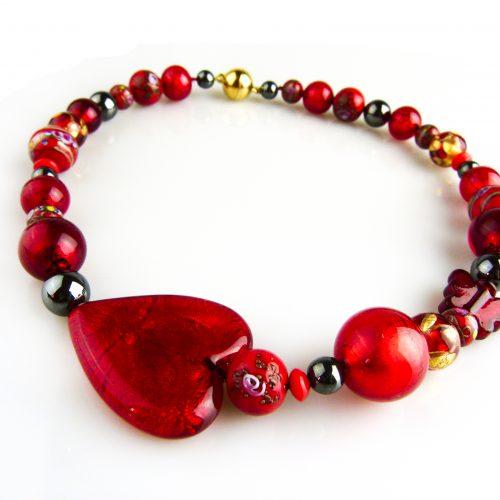 ketting collier venetiaans glas rood