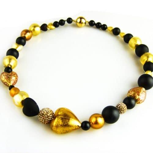 ketting collier venetiaans glas goud en onyx