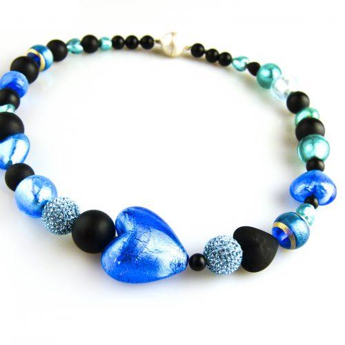 ketting collier venetiaans glas blauw en onyx