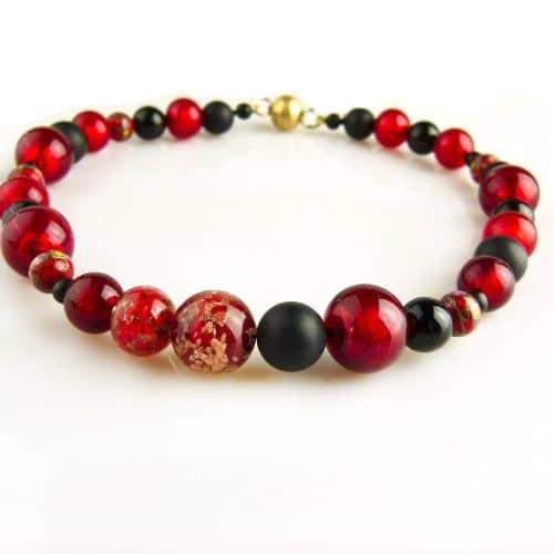 ketting collier venetiaans glas rood en onyx