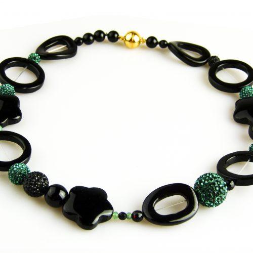 ketting collier halfedelsteen onyx en groene strassparels