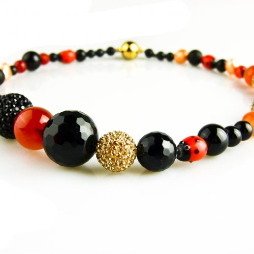 parelcollier parelketting zwart oranje