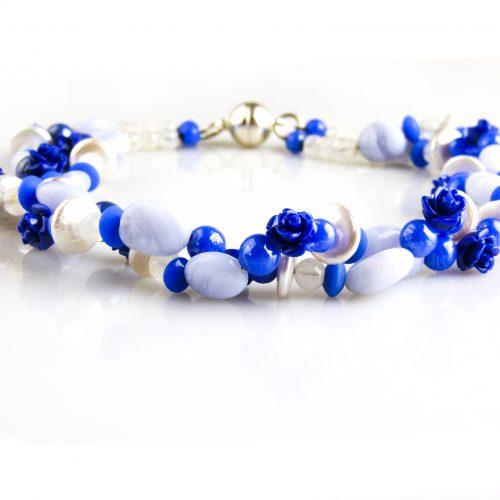 collier ketting halfedelstenen blauw