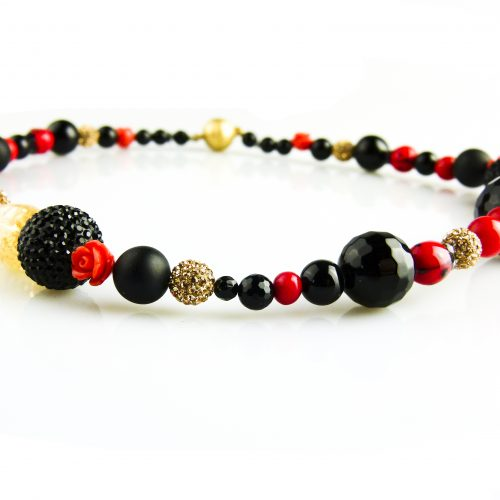ketting collier onyx en rode karaal