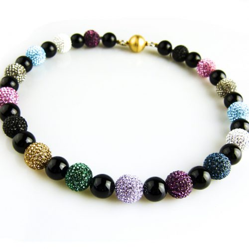 ketting collier onyx en strassparels multicolor