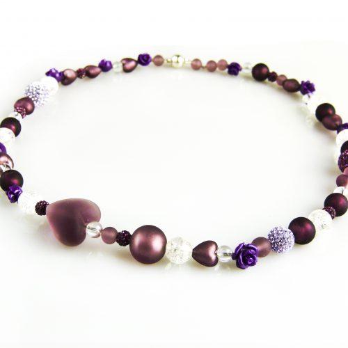 ketting collier venetiaanse glasparels paars