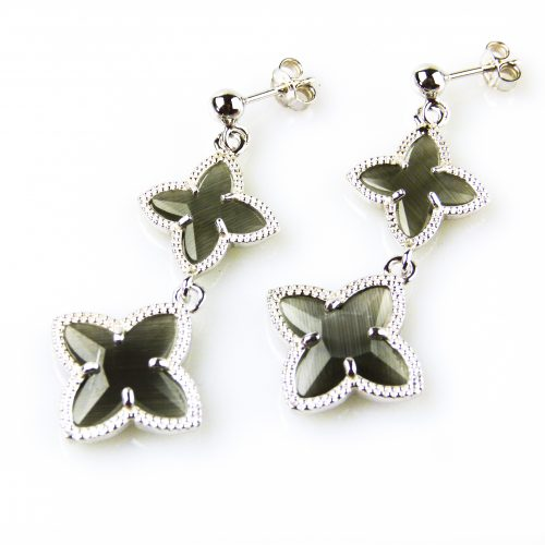 zilveren oorbellen oorringen donkergrijze stenen ster