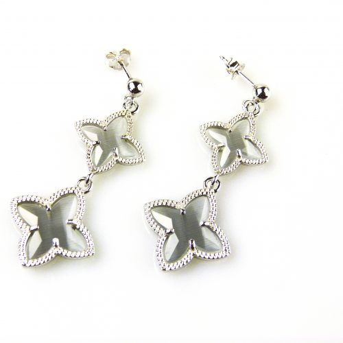 zilveren oorbellen oorringen grijze stenen ster