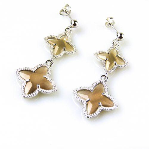 zilveren oorbellen oorringen bruine stenen ster