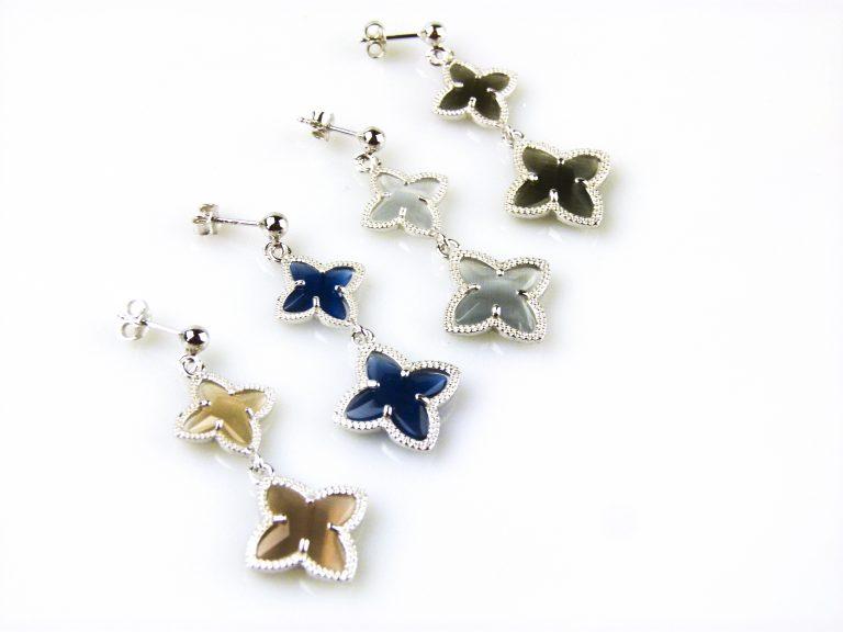 zilveren oorbellen oorringen gekleurde stenen ster