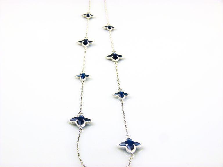 zilveren ketting lang donkerblauwe stenen ster