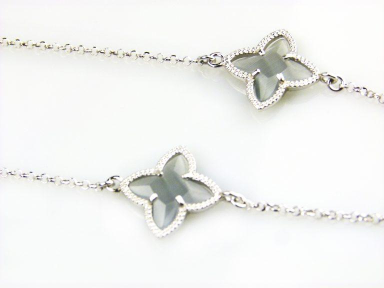 zilveren ketting lang grijze stenen ster