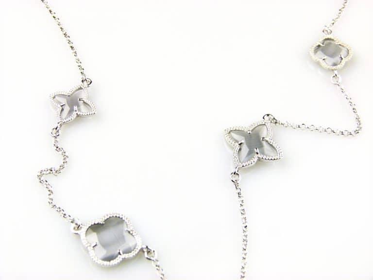zilveren ketting lang grijze stenen