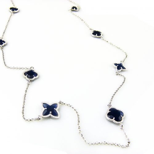 zilveren ketting lang donker blauwe stenen