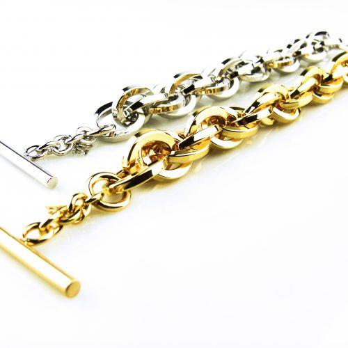 armband in brons geel goud verguld zilverkleurig