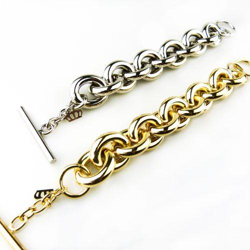 armband in brons goudkleurig zilverkleurig