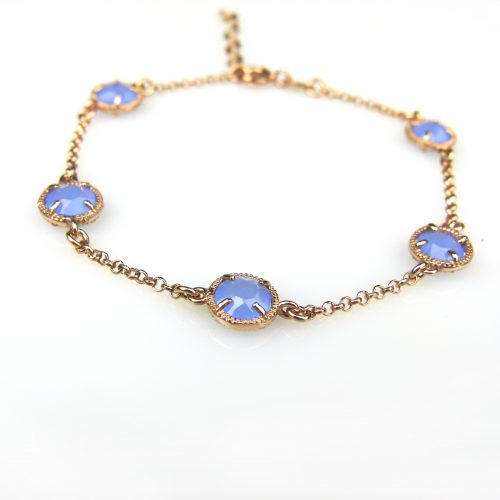 zilveren armband roos goud verguld met blauwe steentjes rond