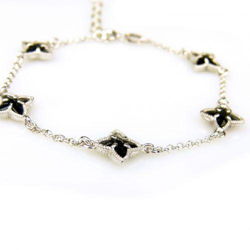 zilveren armband met zwarte steentjes ster