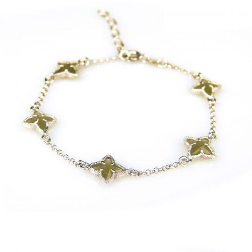 zilveren armband met kaki steentjes ster