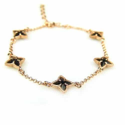 zilveren armband roos goud verguld met zwarte steentjes ster
