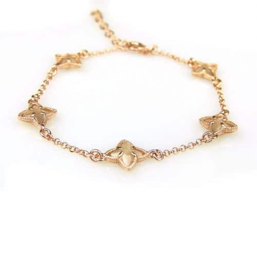zilveren armband roos goud verguld met bruine steentjes ster