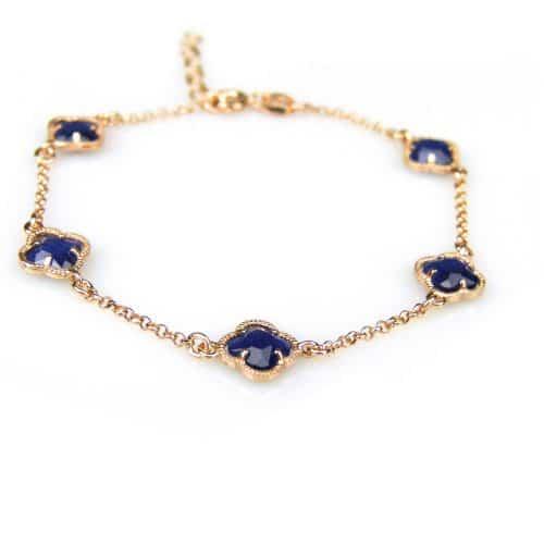 zilveren armband roos goud verguld met donker blauwe steentjes bloem