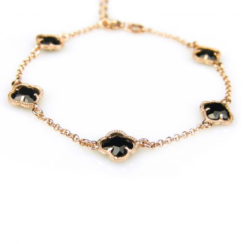 zilveren armband roos goud verguld met zwarte steentjes bloem