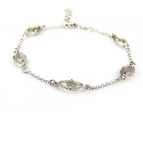 zilveren armband met grijze steentjes