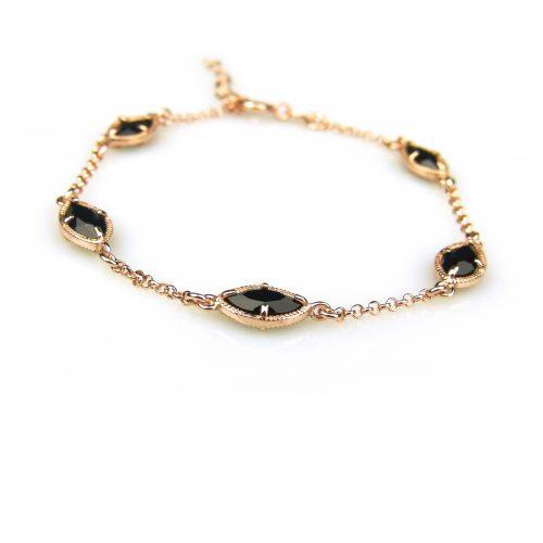zilveren armband roos goud verguld met zwarte steentjes
