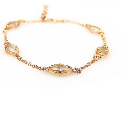 zilveren armband roos goud verguld met grijze steentjes