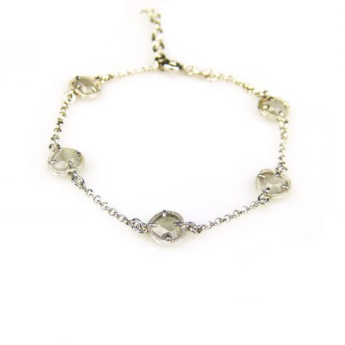zilveren armband met grijze steentjes hartjes