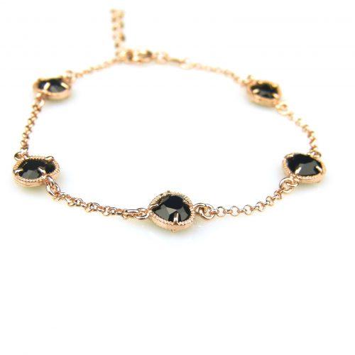 zilveren armband roos goud verguld met zwarte steentjes hartjes