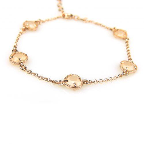 zilveren armband roos goud verguld met beige stenen