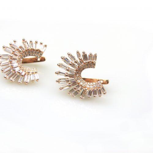 zilveren oorbellen oorringen roos goud verguld gezet met cubic zirconia