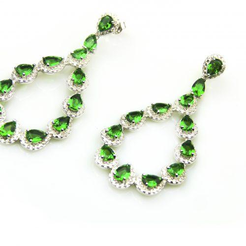 zilveren oorbellen oorringen gezet met cubic zirconia en groene stenen