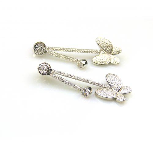 zilveren oorbellen oorringen gezet met cubic zirconia