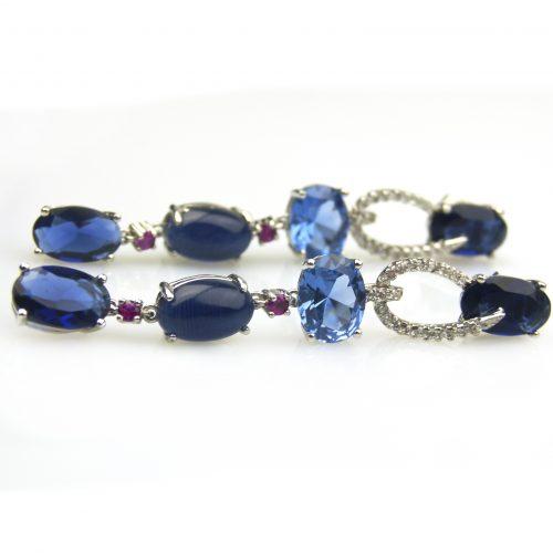 zilveren oorbellen oorringen gezet met cubic zirconia en blauwe stenen