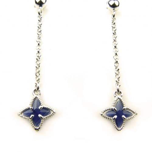 oorringen in zilver donkerblauw steentje ster