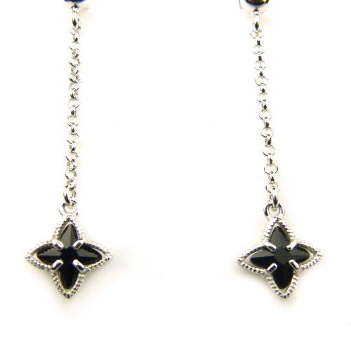 oorringen in zilver zwart steentje ster