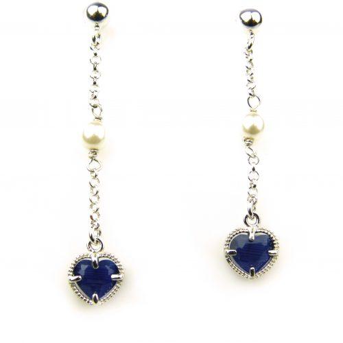 oorringen- in -zilver- met- blauw- steentje- en- parel