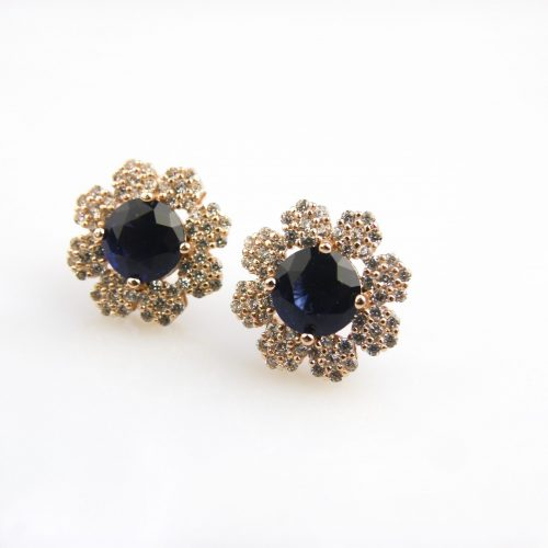 zilveren oorringen oorbellen roos goud verguld gezet met blauwe en witte stenen