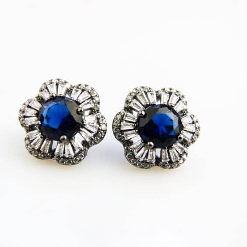 zilveren oorringen oorbellen gezet met blauwe steen en cubic zirconia