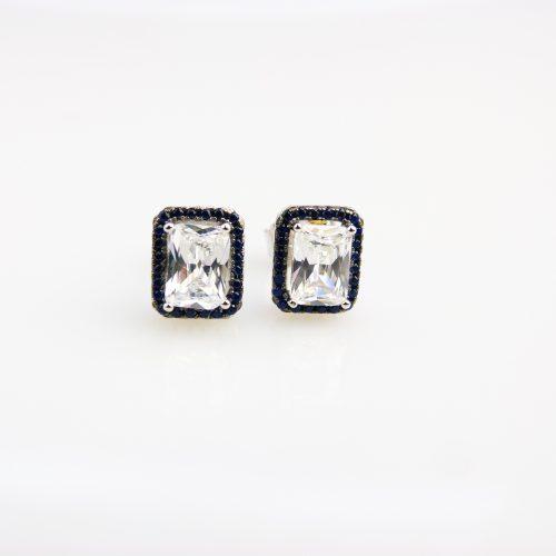zilveren oorringen oorbellen gezet met blauwe en witte stenen cubic zirconia