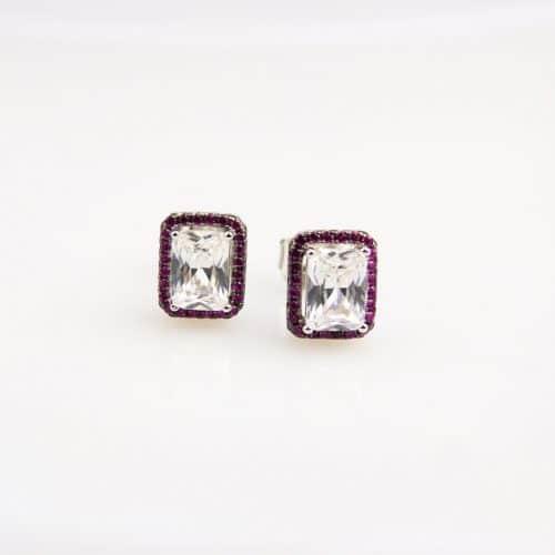 zilveren oorringen oorbellen gezet met rode stenen en cubic zirconia