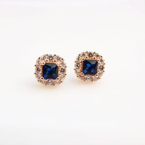 zilveren oorringen oorbellen roos goud verguldgezet met blauwe en witte stenen cubic zirconia
