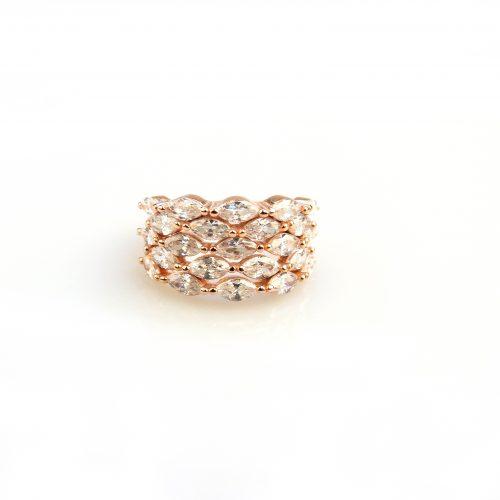 zilveren ring roos goud verguld gezet met witte stenen cubic zirconia
