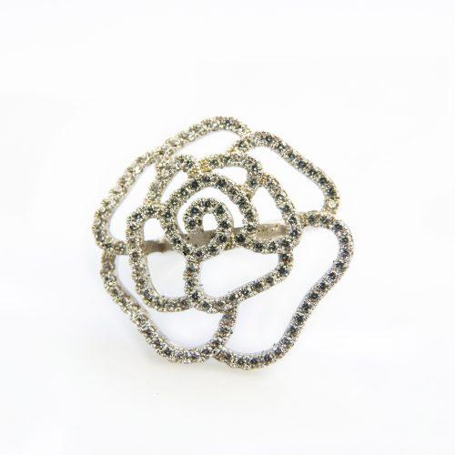 zilveren ring bloem gezet met witte stenen cubic zirconia