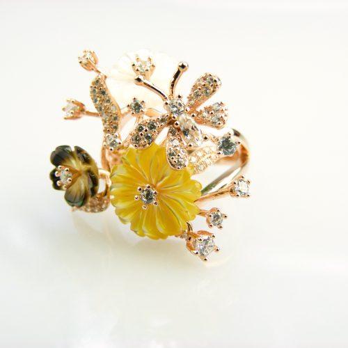 zilveren ring roos goud verguld gezet met bloemen en cubic zirconia